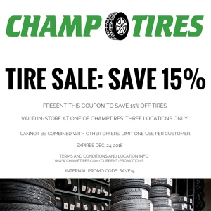 Save 15% through 12/24/18 at Champtires' stores.