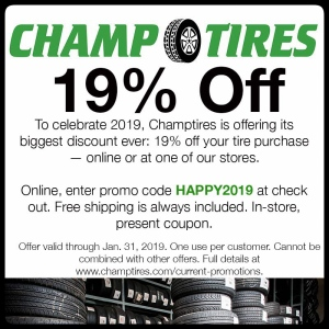 Save 19% off a tire purchase with this coupon. Valid through Jan 31, 2019.