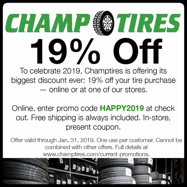 Save 29% off a tire purchase with this coupon. Valid through Jan 31, 2019.
